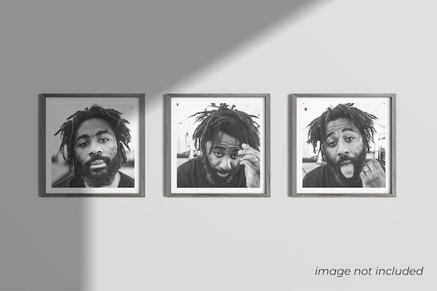 Tre fotogrammi quadrati mockup design rendering