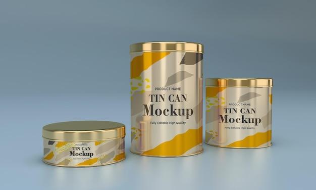 Tre mockup di imballaggi in latta per alimenti in metallo dorato rotondo