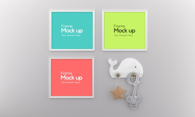Cornice per foto three kids mockup design