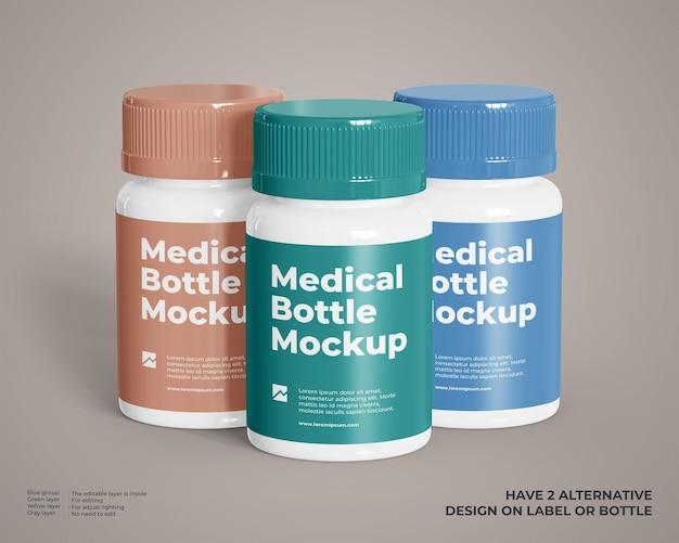 Modello di tre bottiglie di plastica medica