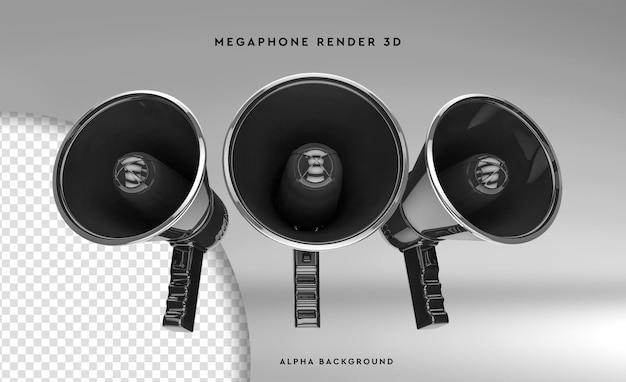 Tre megafono scena creatore rendering 3d isolato