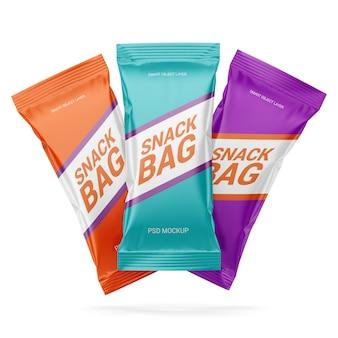 Tre confezioni di mockup di snack
