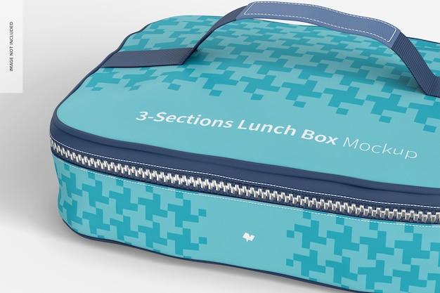 Mockup di scatola del pranzo a tre sezioni, primo piano