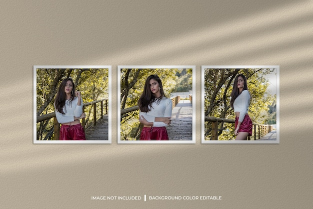Modello di foto con tre cornici di carta quadrate con ombra