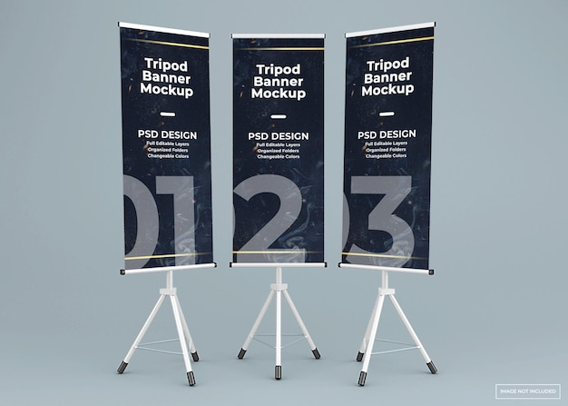 Tre treppiedi banner stand mockup