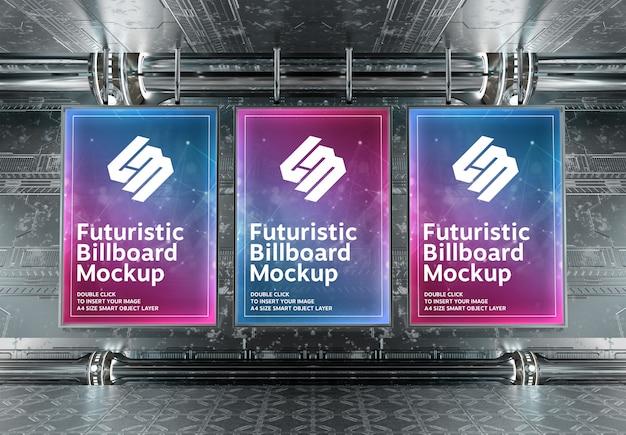 Tre cartelloni verticali nel futuristico sotterraneo