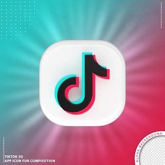 Bianco dell'icona dell'applicazione 3d di tiktok