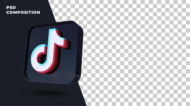 Icona del pulsante tiktok rendering 3d isolato