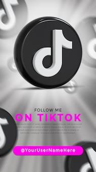 Logo lucido di tiktok e icone dei social media story