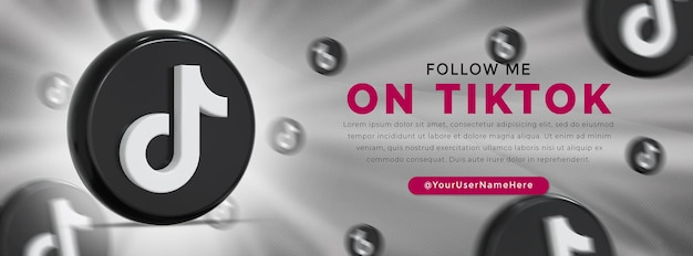 Tiktok logo lucido e icone social media banner web