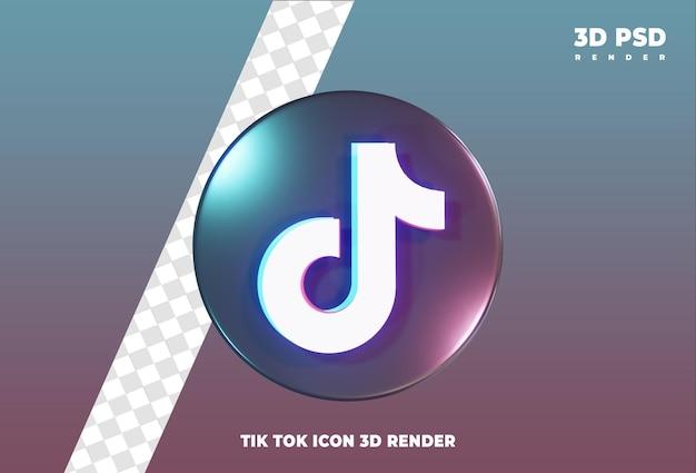 Tiktok icona 3d rendering icona distintivo isolato