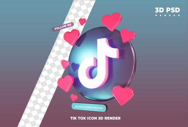 Icona di tiktok con amore 3d rendering icona distintivo isolato