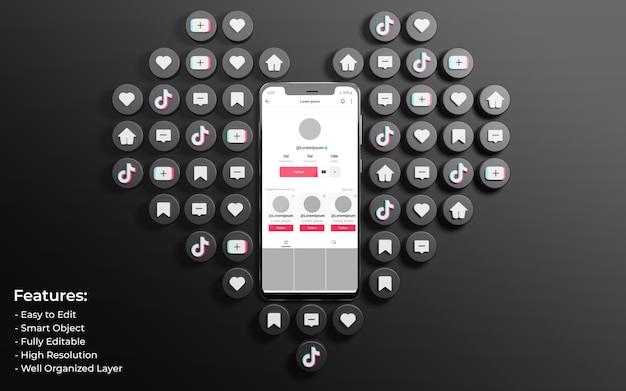 Tiktok interface mockup circondato da 3d come love and comment icon