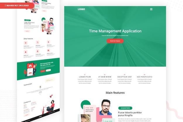Modello di pagina del sito web dell'applicazione per la gestione del tempo
