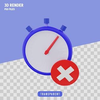 Icona di timeout rendering 3d isolato premium
