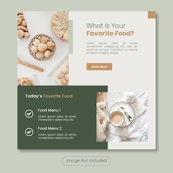 Il modello di banner post di instagram del menu di cibo preferito di oggi