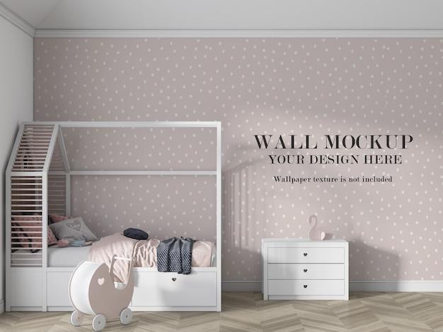 Mockup della parete della camera da letto del bambino con mobili minimalisti