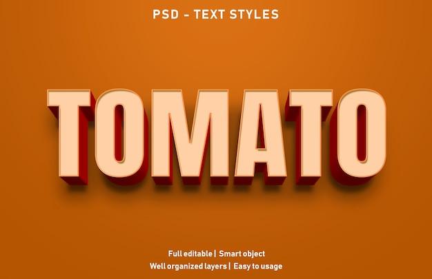 Modello di stile di effetti di testo di pomodoro