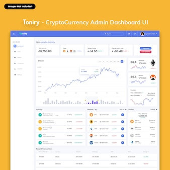 Toniry - kit interfaccia utente dashboard di amministrazione di cryptocurrency