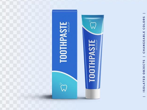 Modello del tubo di dentifricio in pasta con la vista frontale dell'imballaggio della scatola isolata