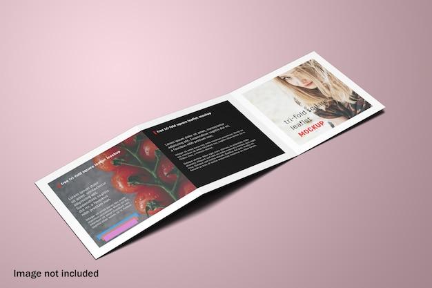 Mockup di brochure a tre ante quadrate con vista dall'alto