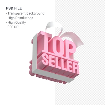 Vendita più venduta con fiocco e nastro 3d design isolato