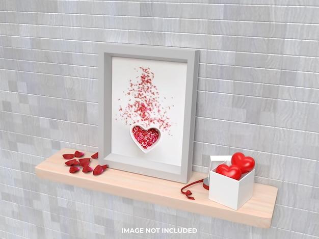 Concetto di san valentino mockup cornice laterale superiore con regalo rosa e cuore