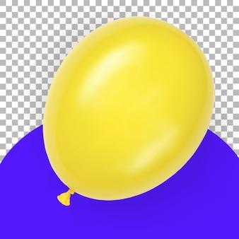 Palloncino giallo isolato con vista superiore