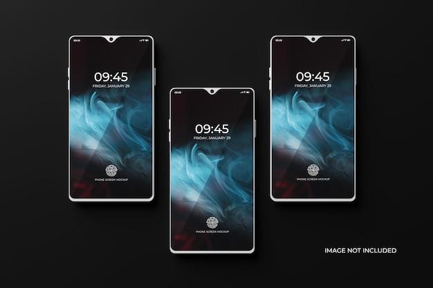 Mockup di schermo dello smartphone 3d vista dall'alto