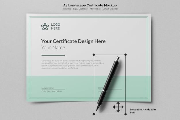 Carta per il certificato di conseguimento del paesaggio a4 vista dall'alto con mockup realistico di penna per firma
