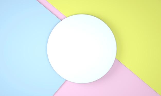 Vista dall'alto, sfondo piatto astratto con figura pastello. sfondo flatlay creativo. idea creativa, layout. illustrazione 3d
