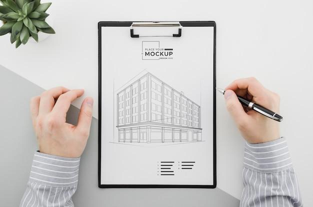 Design dell'architettura vista dall'alto con mock-up