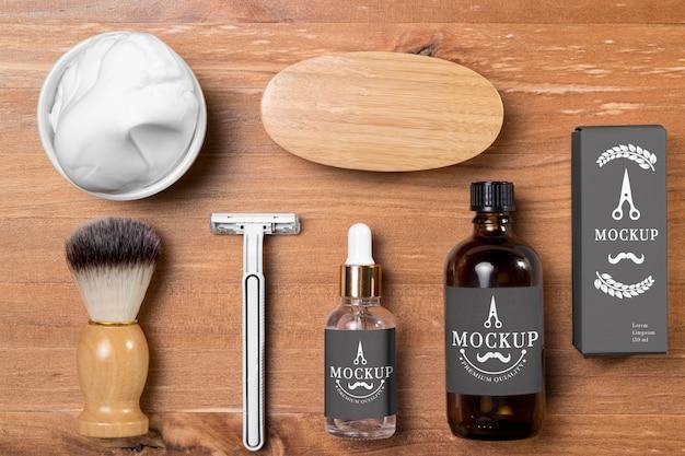 Vista dall'alto della collezione di prodotti per la cura della barba