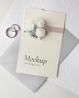 Vista dall'alto del bellissimo mock-up del concetto di matrimonio