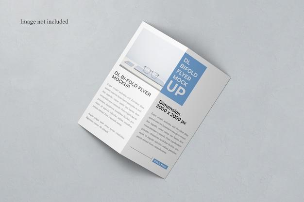 Top view bi-fold dl flyer mockup