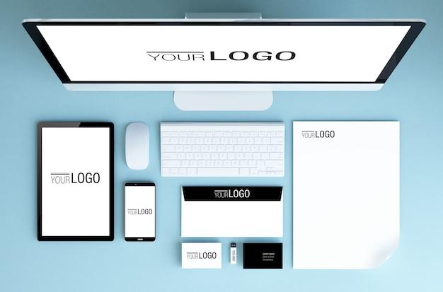 Mockup di elementi di branding vista dall'alto