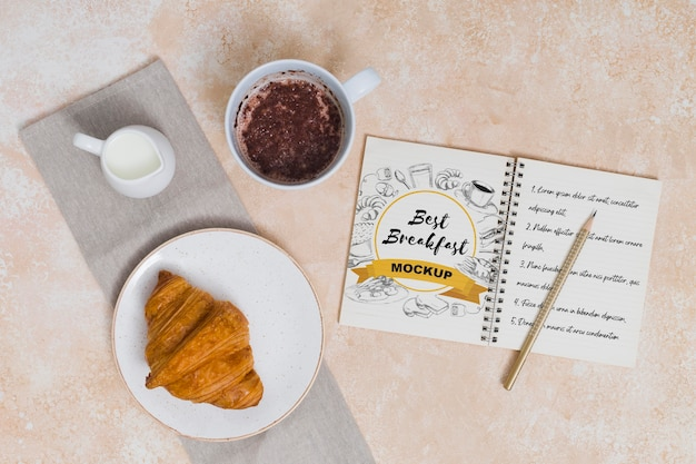 Vista dall'alto del mock-up del concetto di colazione