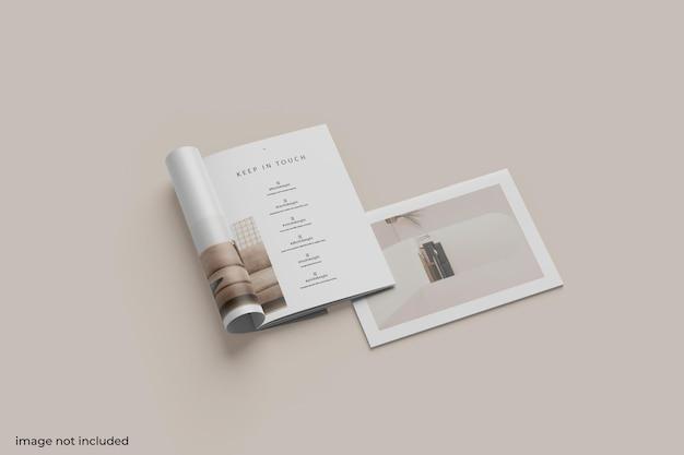 Brochure vista dall'alto o mockup del catalogo