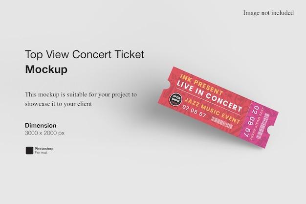 Vista dall'alto del biglietto per il concerto mockup