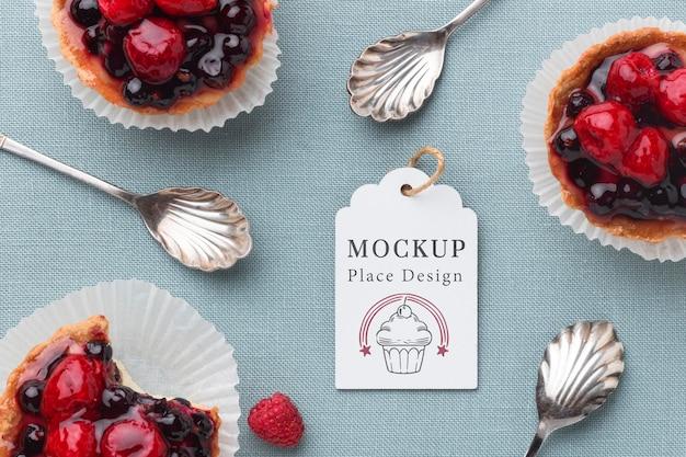 Vista dall'alto del delizioso mock-up del concetto di panetteria