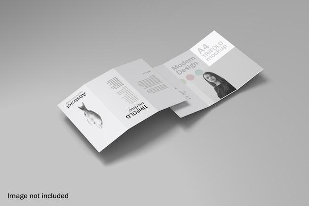 Mockup di brochure a tre ante con vista dall'alto