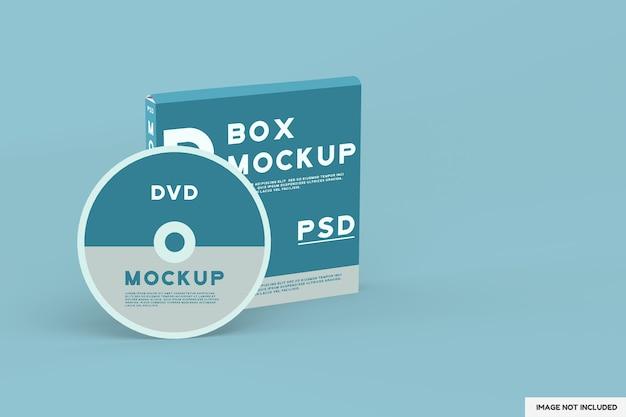 Vista dall'alto su disco dvd e mockup box