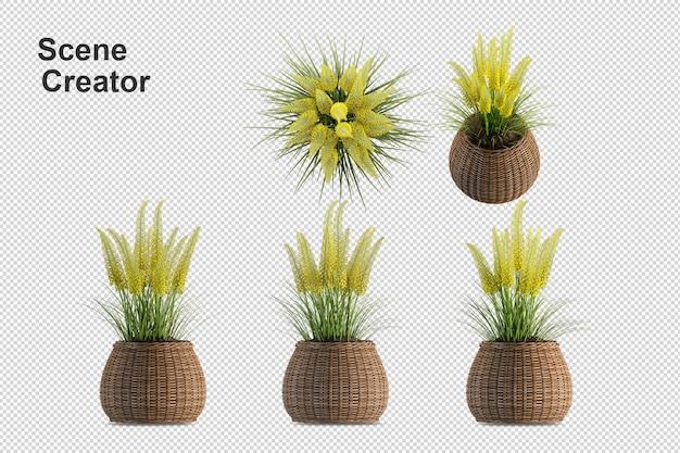 Cesto di fiori vista dall'alto nella rappresentazione 3d