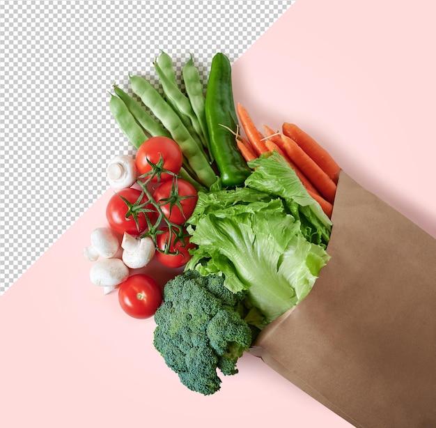 Vista dall'alto di verdure fresche in un modello di sacchetto di carta riciclabile
