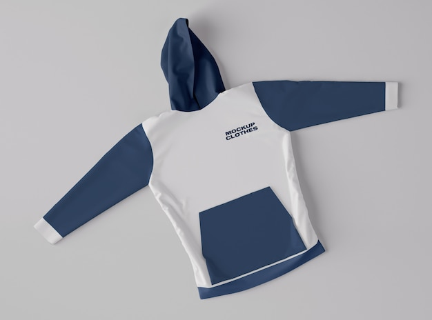 Top view of hoodie felpa mockup