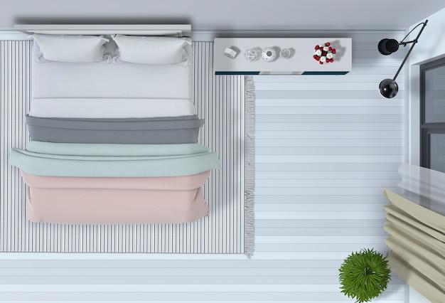 Vista dall'alto della camera da letto interna nel rendering 3d