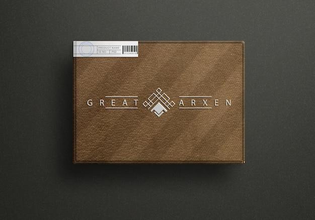 Vista dall'alto sul design del mockup del logo della scatola di lusso
