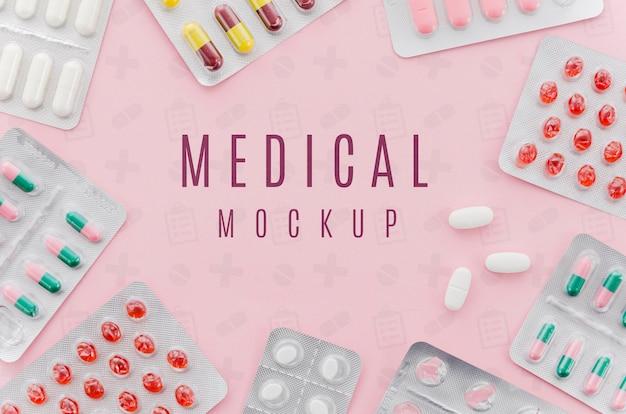 Concetto medico di vista dall'alto con mock-up Psd Premium