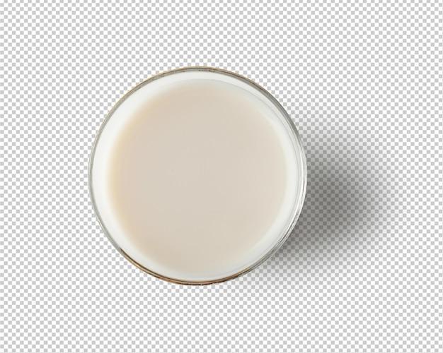 Vista dall'alto di latte nel bicchiere isolato