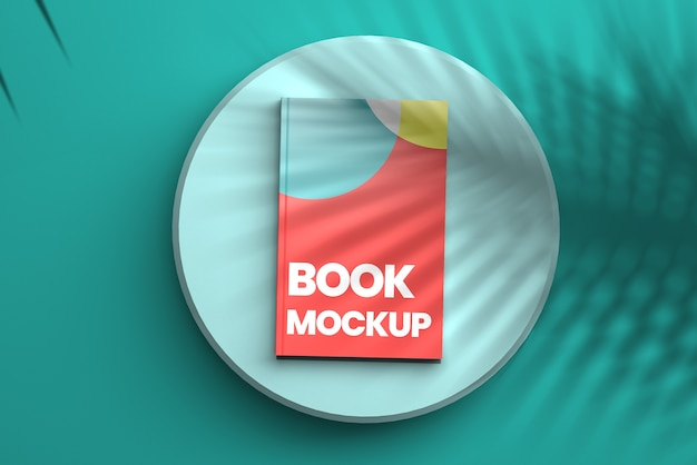 Vista dall'alto sul mockup di copertina del libro in stile minimal